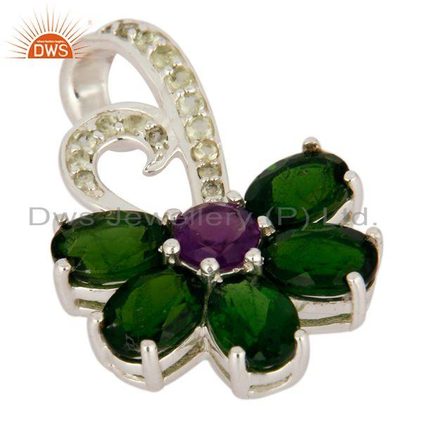 Exporter Natural Amethyst And Chrome Diopside Sterling Silver Designer Pendant With Topaz