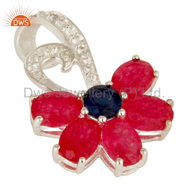 Exporter 925 Sterling Silver Blue Corundum And Red Aventurine Pendant With White Topaz