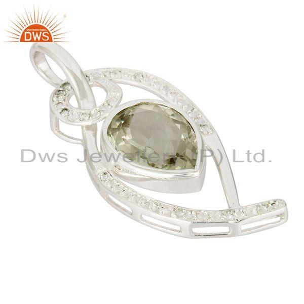 Exporter 925 Sterling Silver Green Amethyst And White Topaz Pendant For Womens