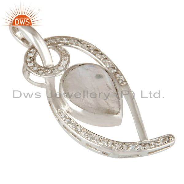 Exporter 925 Sterling Silver Rainbow Moonstone And White Topaz Pendant For Womens