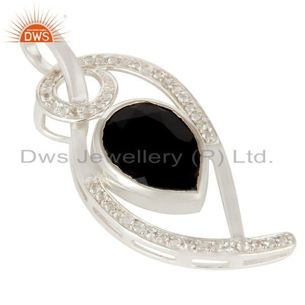 Exporter 925 Sterling Silver White Topaz And Black Onyx Gemstone Designer Pendant