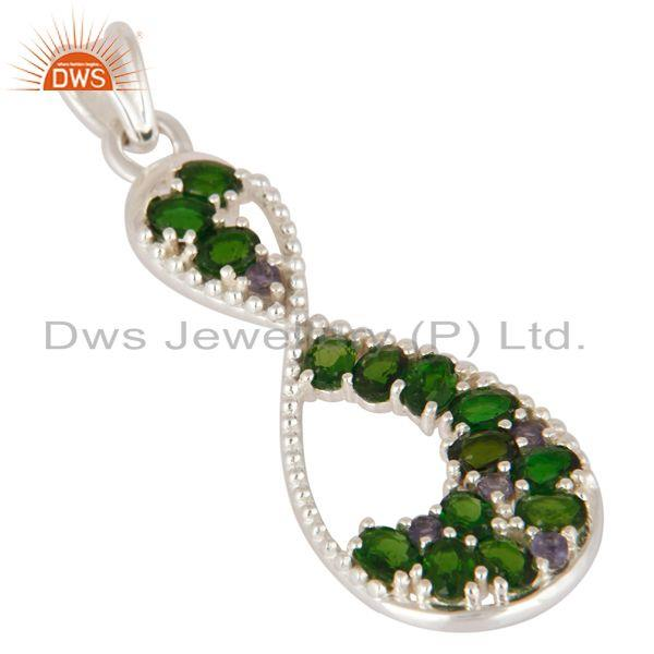 Exporter Oval Cut Natural Green Chrome Diopside And Iolite 925 Sterling Silver Pendant