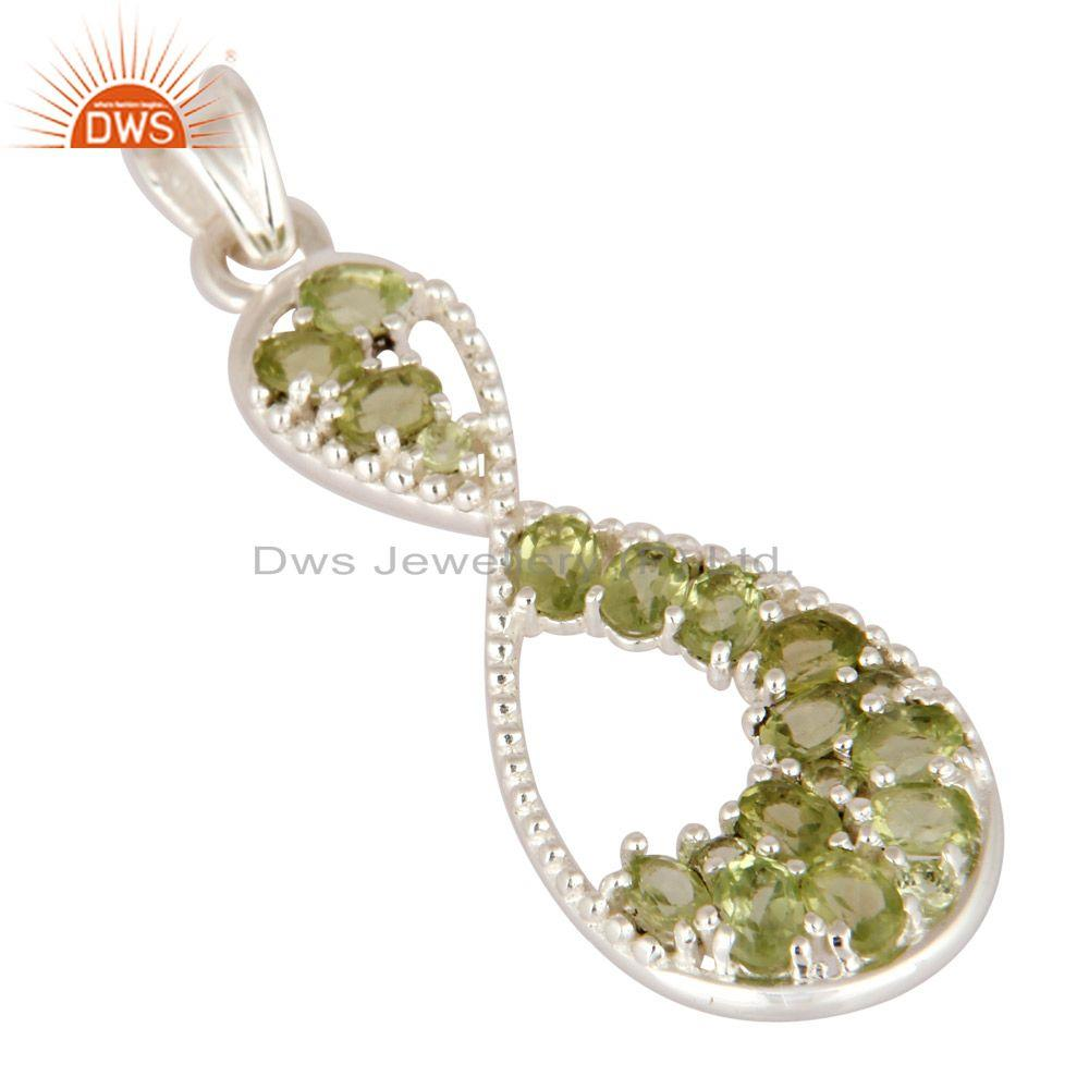 Exporter Fine Jewelry Gemstone Peridot Solitaire Style Pendant In 925 Sterling Silver
