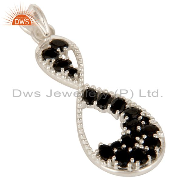 Exporter 925 Solid Sterling Silver Black Onyx Gemstone Infinity Design Pendant Jewelry