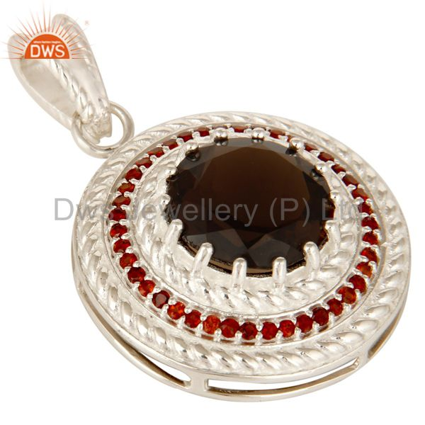 Exporter 925 Solid Sterling Silver Smoky Quartz And Garnet Gemstone Circle Pendant