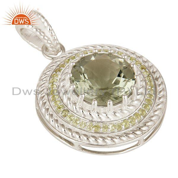 Exporter 925 Sterling Silver Green Amethyst And Peridot Prong Set Circle Pendant