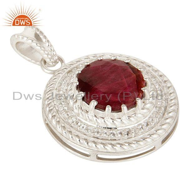 Exporter 925 Sterling Silver Red Corundum And White Topaz Prong Set Circle Pendant