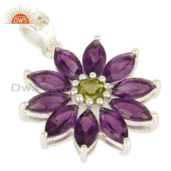 Exporter Natural Amethyst And Peridot Solid Sterling Silver Solitaire Pendant