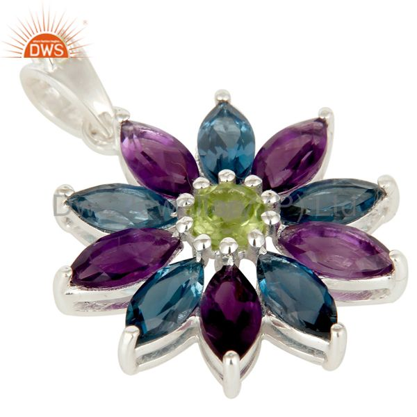 Exporter 925 Sterling Silver Amethyst London Blue Topaz and Peridot Design Pendant