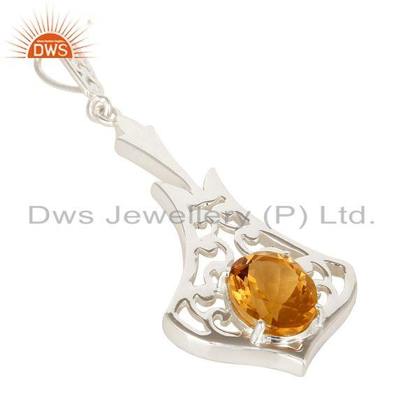 Exporter 100% Genuine 925 Sterling Silver Citrine Gemstone Pendant