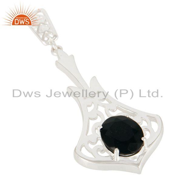 Exporter Faceted Black Onyx Gemstone Solid Sterling Silver Pendant