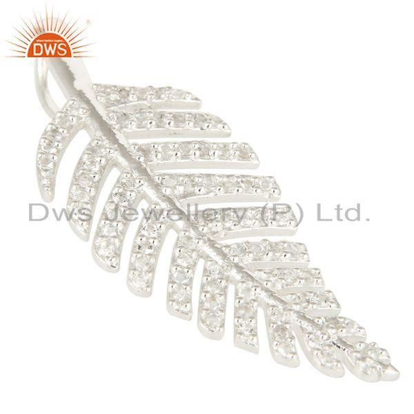 Exporter Natural White Topaz Sterling Silver Unique Design Leaf Pendant Jewelry