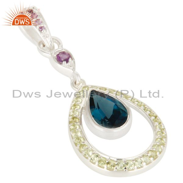 Exporter Natural Blue Topaz, Peridot And Amethyst Sterling Silver Pendant