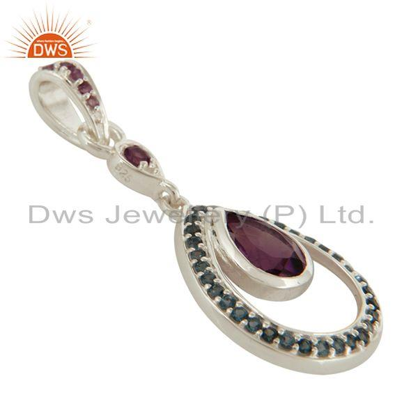 Exporter 925 Sterling Silver Amethyst And Blue Topaz Gemstone Teardrop Pendant