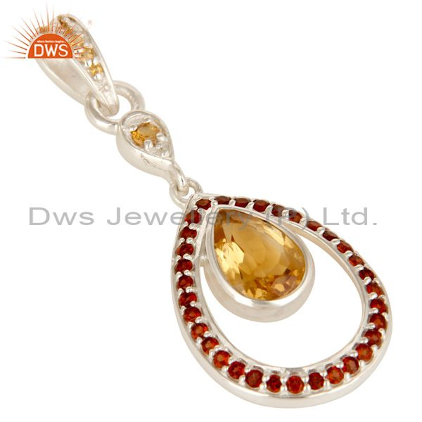 Exporter 925 Sterling Silver Garnet And Citrine Gemstone Designer Pendant