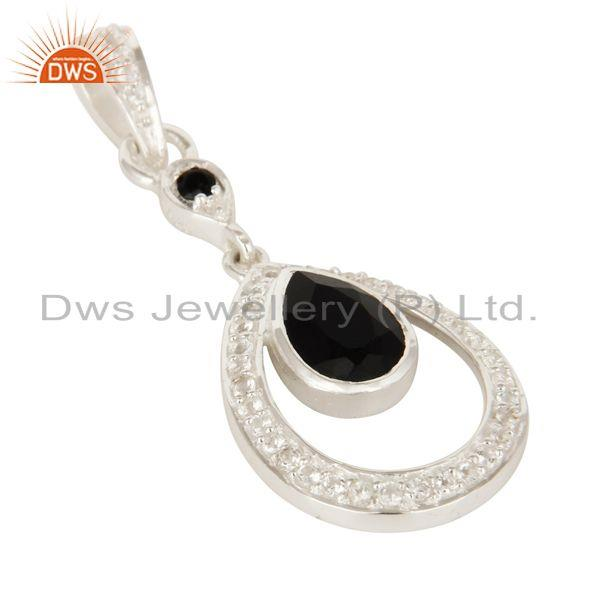 Exporter White Topaz And Black Onyx Gemstone 925 Sterling Silver Designer Pendant