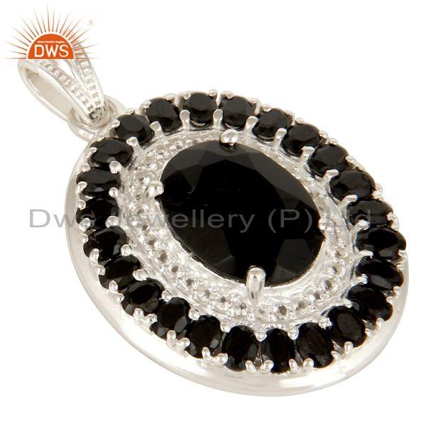 Exporter 925 Sterling Silver Black Onyx And White Topaz Gemstone Cluster Pendant Jewelry
