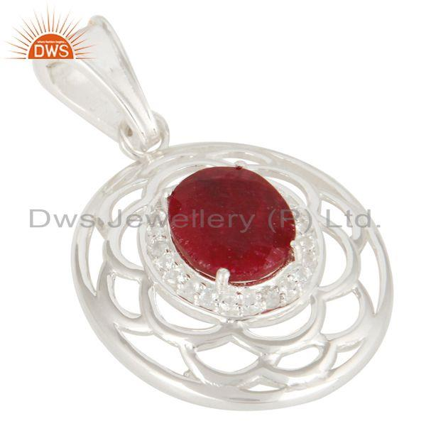 Exporter White Topaz And Red Corundum Gemstone Genuine Sterling Silver Pendant