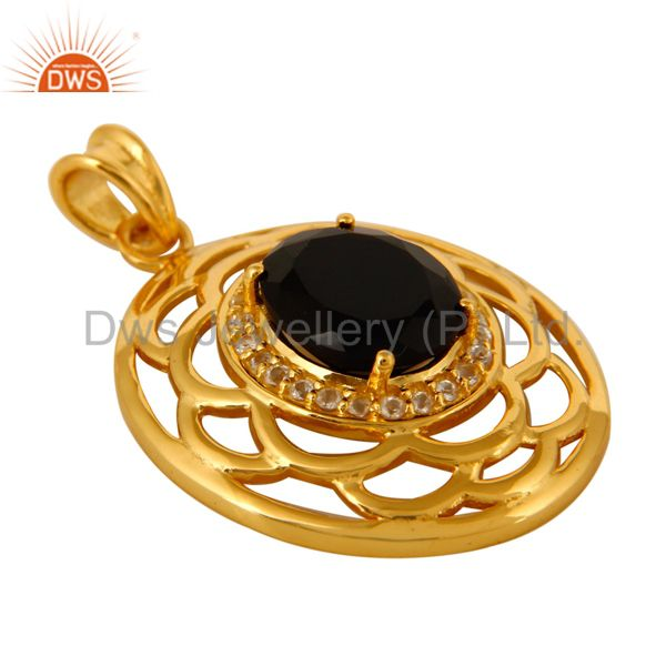 Exporter 925 Sterling Silver Black Onyx And White Topaz Pendant - Yellow Gold Plated