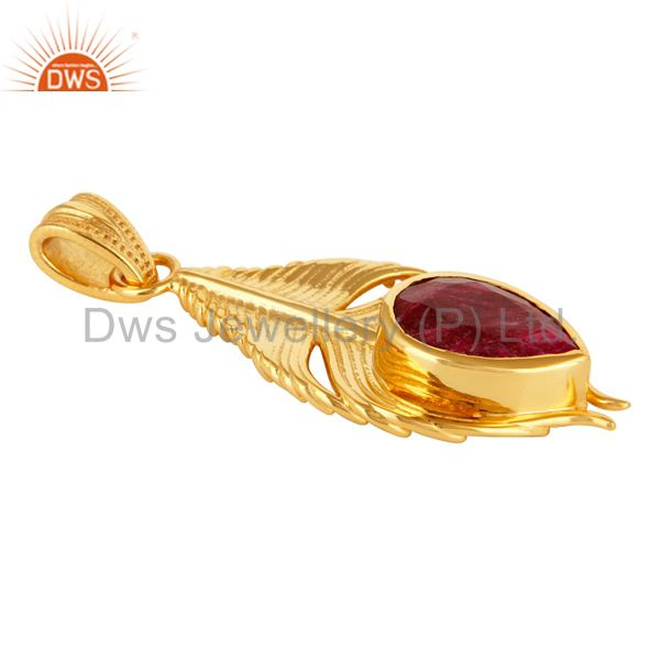 Exporter Gold Plated Ruby Corundum Sterling Silver Peacock Feather Pendant