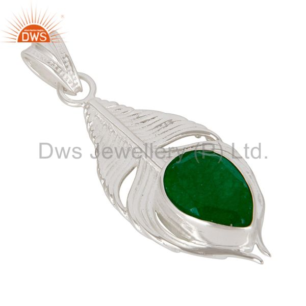 Exporter 925 Sterling Silver Green Aventurine Gemstone Peacock Feather Pendant