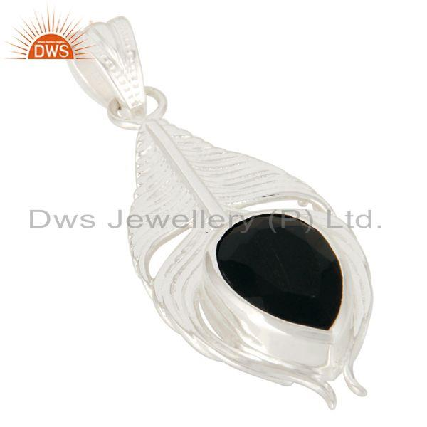 Exporter 925 Sterling Silver Peacock Feather Pendant With Natural Black Onyx Gemstone