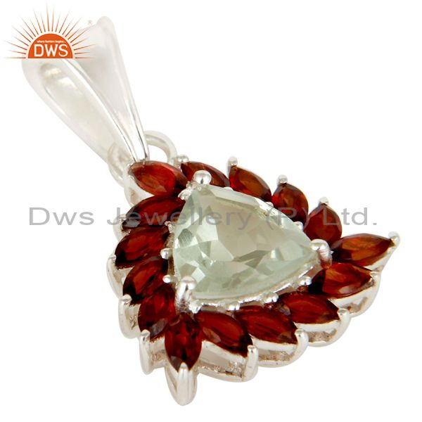Exporter Trillion Cut Green Amethyst & Garnet Sterling Silver Solitaire Gemstone Pendant