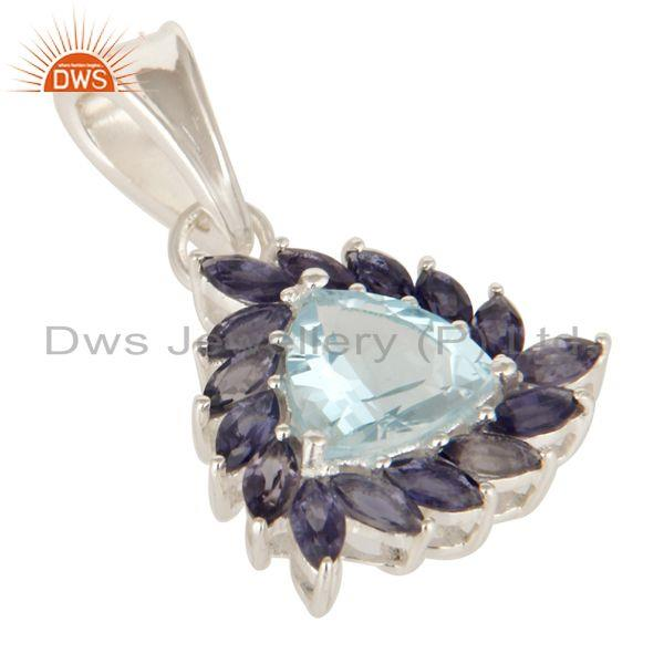 Exporter Trillion Cut Blue Topaz And Iolite Sterling Silver Solitaire Gemstone Pendant