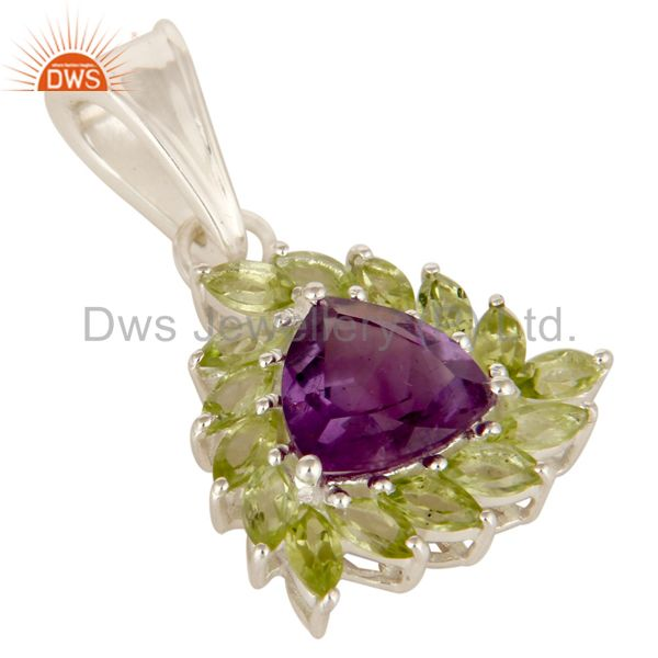 Exporter Natural Purple Amethyst And Peridot Sterling Silver Designer Cluster Pendant