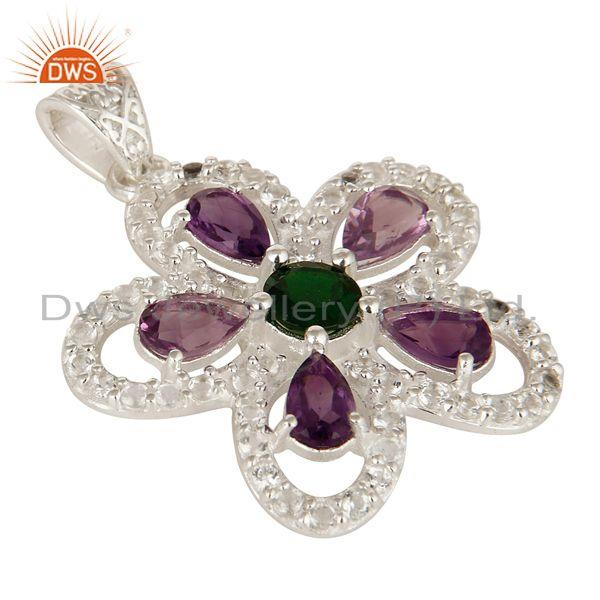 Exporter Designer Amethyst, Peridot And Chrome Diopside Sterling Silver Flower Pendant
