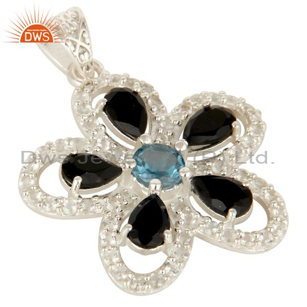 Exporter 925 Sterling Silver Blue Topaz And Black Onyx Flower Pendant With White Topaz