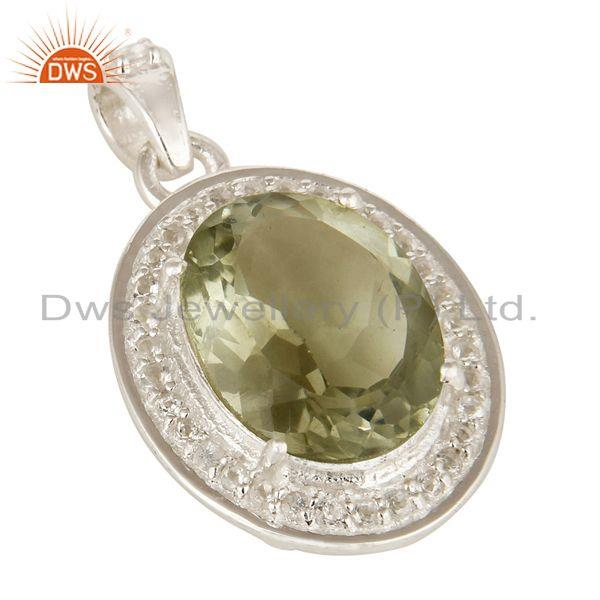 Exporter Natural Green Amethyst And White Topaz Sterling Silver Gemstone Designer Pendant