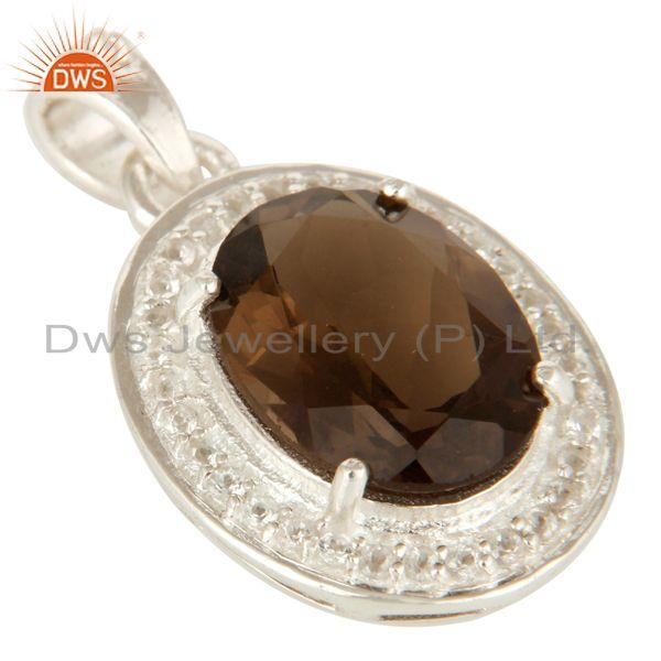 Exporter 925 Sterling Silver Smoky Quartz And White Topaz Pendant