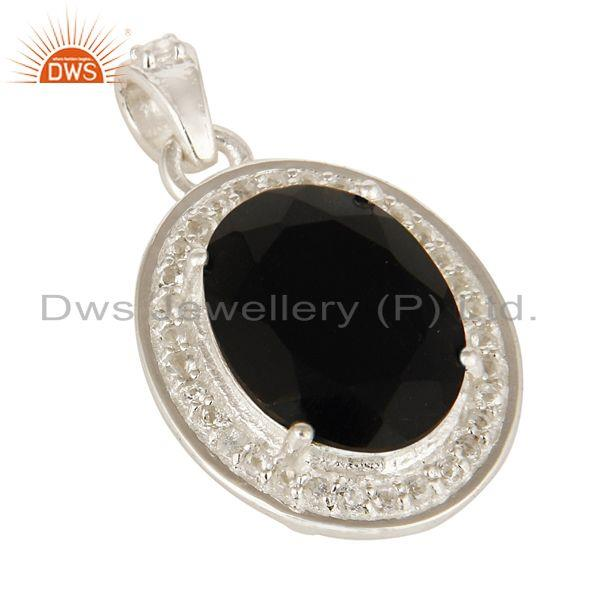 Exporter Natural Black Onyx And White Topaz  Sterling Silver Prong Set Gemstone Pendant