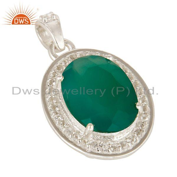 Exporter Faceted Green Onyx And White Topaz  Sterling Silver Prong Set Gemstone Pendant