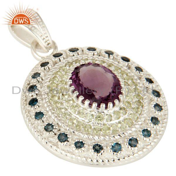 Exporter London Blue Topaz And Amethyst Sterling Silver Pendant With Peridot Gemstone