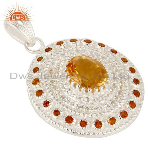 Exporter 925 Sterling Silver Natural Citrine And White Topaz Gemstone Cluster Pendant