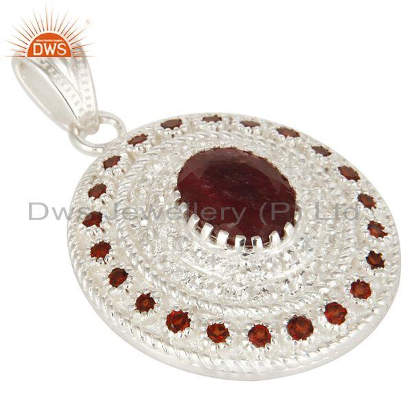 Exporter Natural Garnet And Ruby Corundum 925 Sterling Silver Designer Pendant