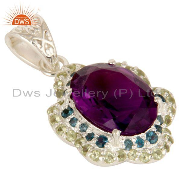 Exporter Amethyst, Blue Topaz And Peridot Prong Set Gemstone Pendant In Sterling Silver