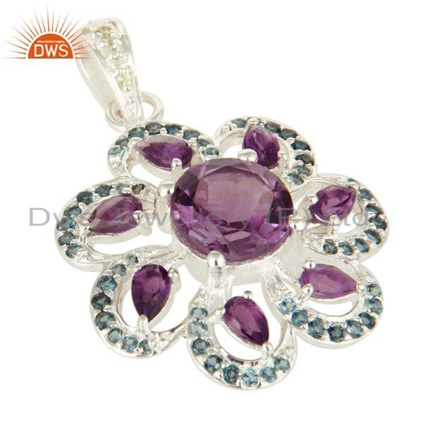 Exporter Designer Sterling Silver Amethyst And Blue Topaz Gemstone Pendant With Peridot