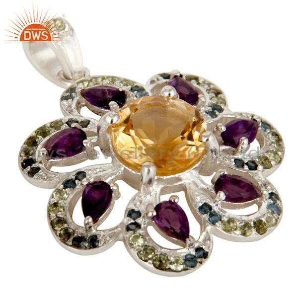 Exporter Sterling Silver Amethyst, Citrine And Blue Topaz Gemstone Pendant With Peridot