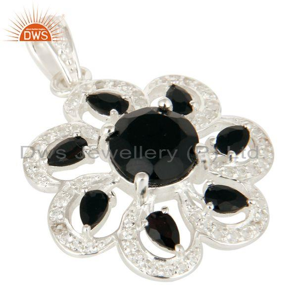 Exporter Natural Black Onyx Sterling Silver Solitaire Flower Pendant With White Topaz