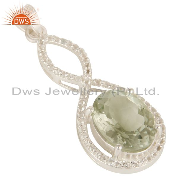 Exporter 925 Sterling Silver Natural Green Amethyst With White Topaz Infinity Pendant