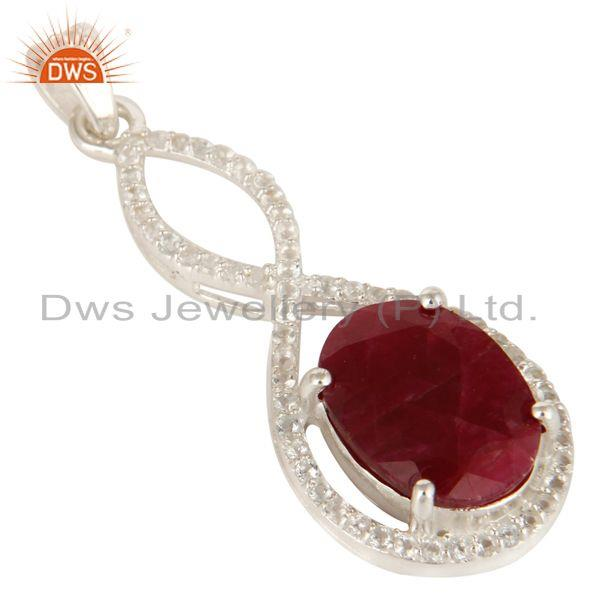 Exporter 925 Sterling Silver Natural Ruby Corundum Prong Set Pendant With White Topaz