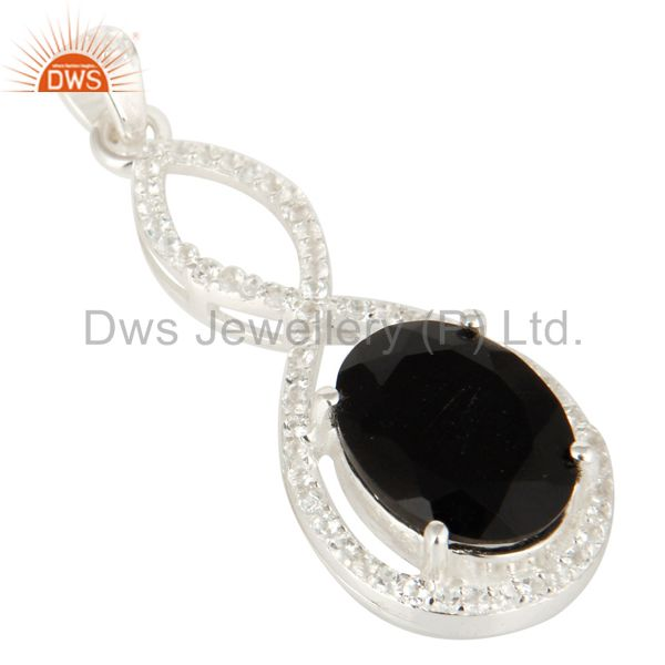 Exporter 925 Sterling Silver Black Onyx Prong Set Gemstone Pendant With White Topaz
