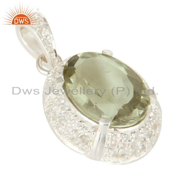 Exporter 925 Sterling Silver Genuine Green Amethyst And White Topaz Pendant