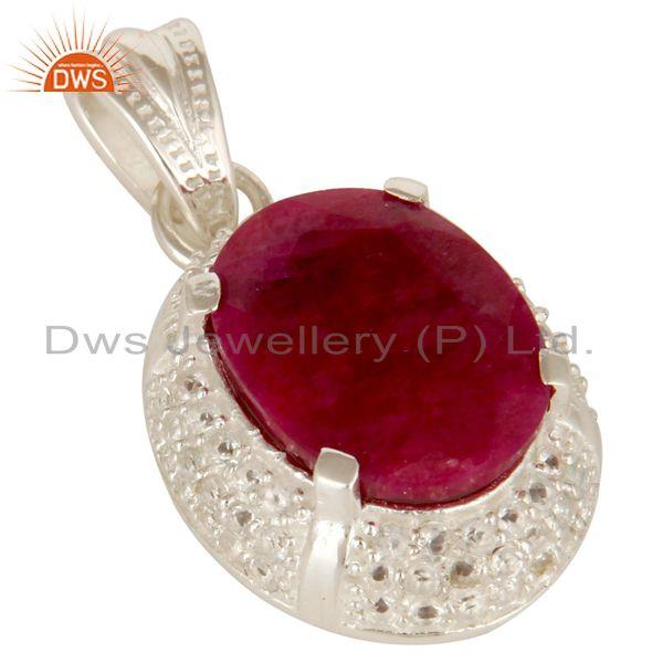 Exporter 925 Sterling Silver Ruby Red Corundum And White Topaz Gemstone Pendant