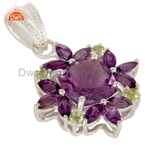 Exporter Amethyst And Peridot Sterling Silver Prong Set Gemstone Flower Pendant