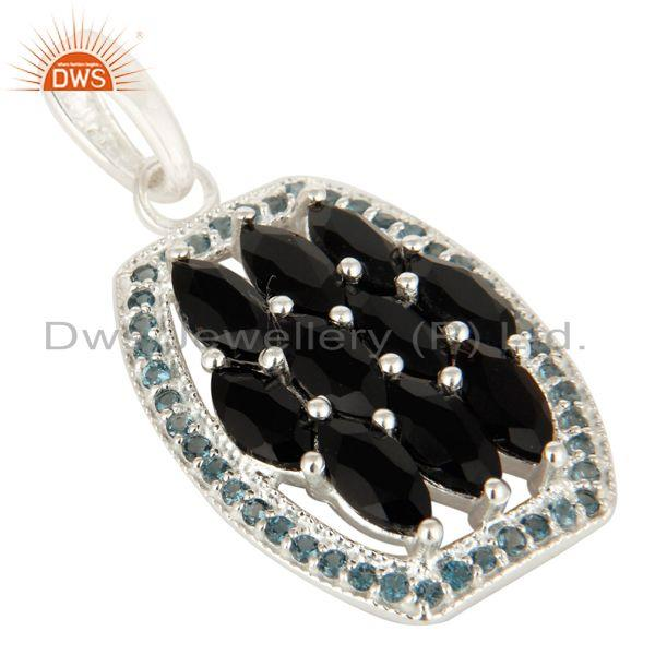 Exporter 925 Sterling Silver Blue Topaz And Black Onyx Gemstone Cluster Pendant