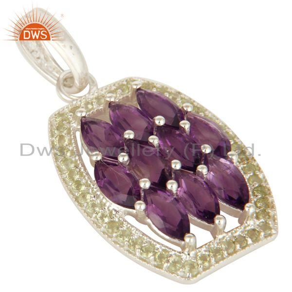 Exporter 925 Sterling Silver Amethyst And Peridot Gemstone Pendant Jewelry